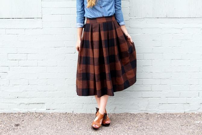 101 Fall Sewing TUtorials - EverythingEtsy.com - Buffalo Check Plaid Skirt