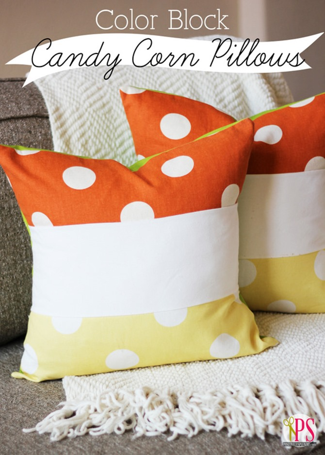 101 Fall Sewing Tutorials - EverythingEtsy.com - Candy Corn Block Pillow DIY
