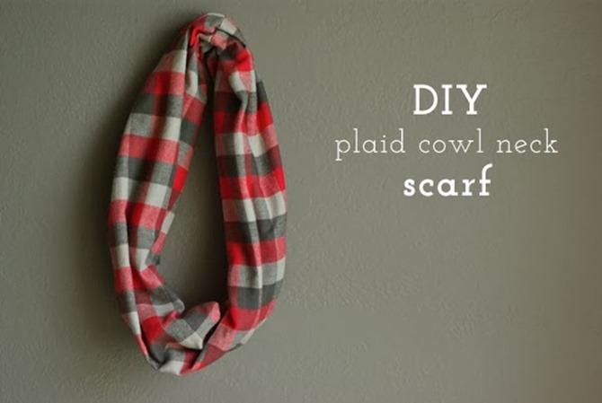 101 Fall Sewing Tutorials - EverythingEtsy.com - DIY Plaid Cowl Scarf