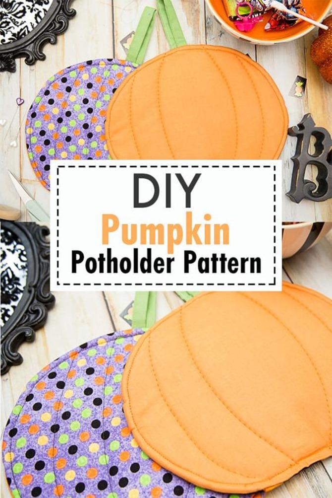 101 Fall Sewing Tutorials - EverythingEtsy.com - DIY Pumpkin Potholder Pattern