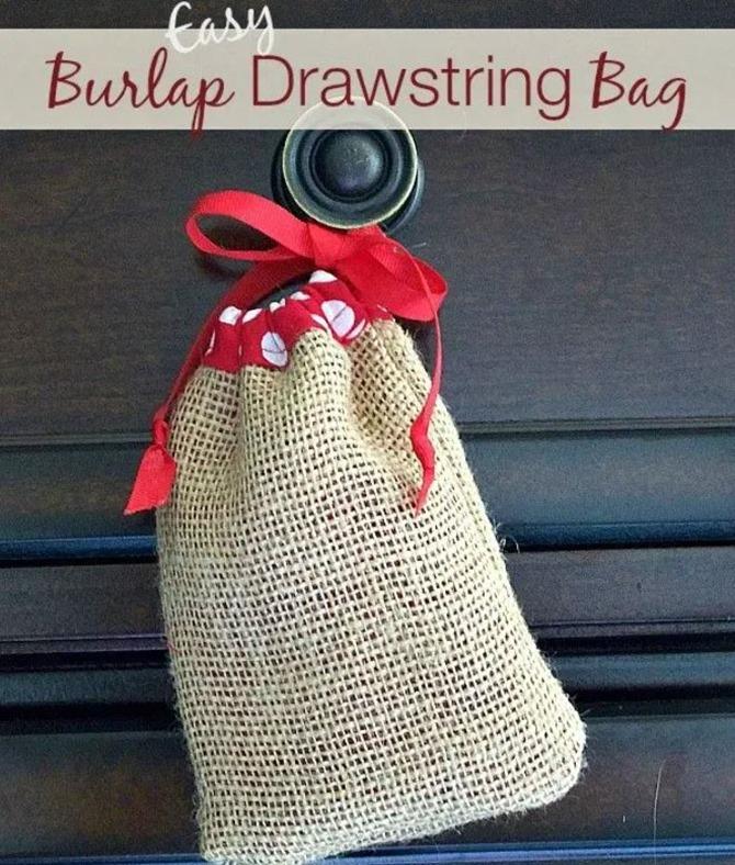 101 Fall Sewing Tutorials - EverythingEtsy.com - Easy Burlap Drawstring Bag Tutorial