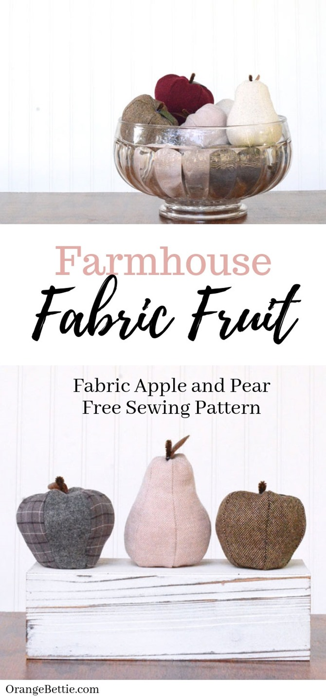 101 Fall Sewing Tutorials - EverythingEtsy.com - Fabric Apple and Pear DIY