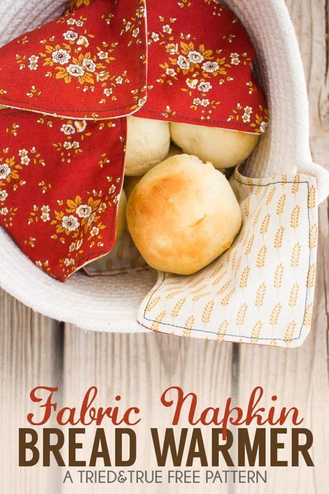 101 Fall Sewing Tutorials - EverythingEtsy.com - Fabric Napking Bread Warmer Tutorial