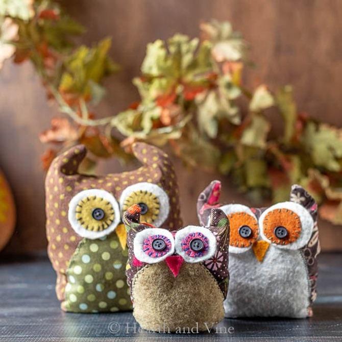 101 Fall Sewing Tutorials - EverythingEtsy.com - Fabric Owl Family Tutorial