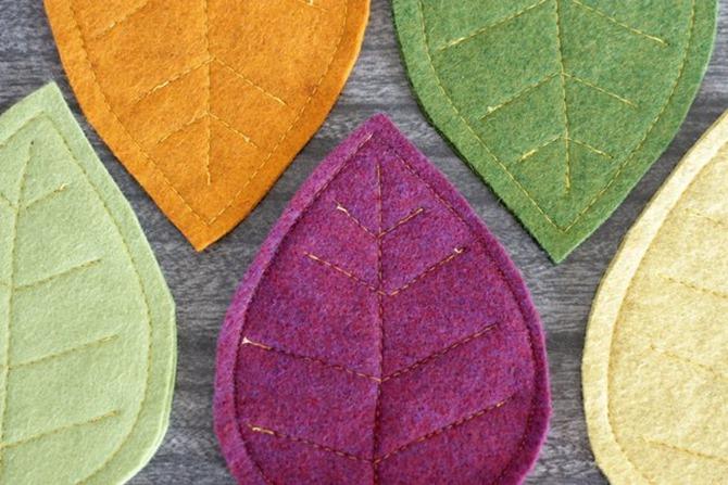 101 Fall Sewing Tutorials - EverythingEtsy.com - Fall Leaf Coasters DIY