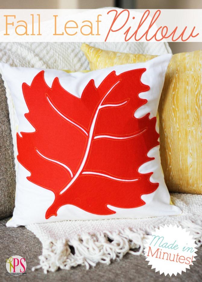 101 Fall Sewing Tutorials - EverythingEtsy.com - Fall Leaf Pillow DIY