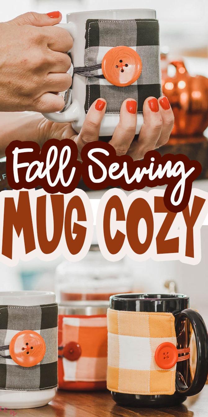 101 Fall Sewing Tutorials - EverythingEtsy.com - Fall Mug Cozy Tutorial