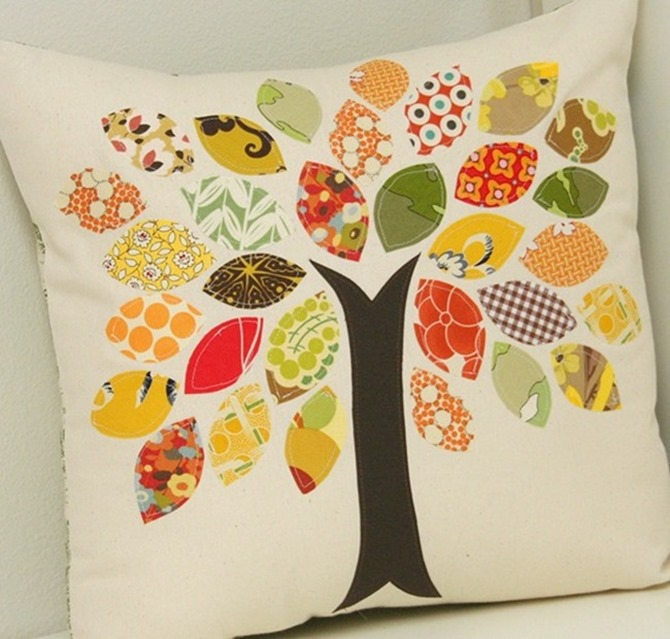 101 Fall Sewing Tutorials - EverythingEtsy.com - Fall Tree Pillow