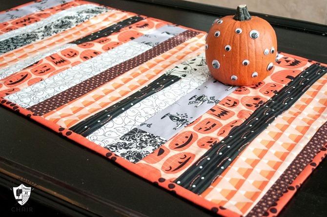 101 Fall Sewing Tutorials - EverythingEtsy.com - Halloween Table Runner DIY