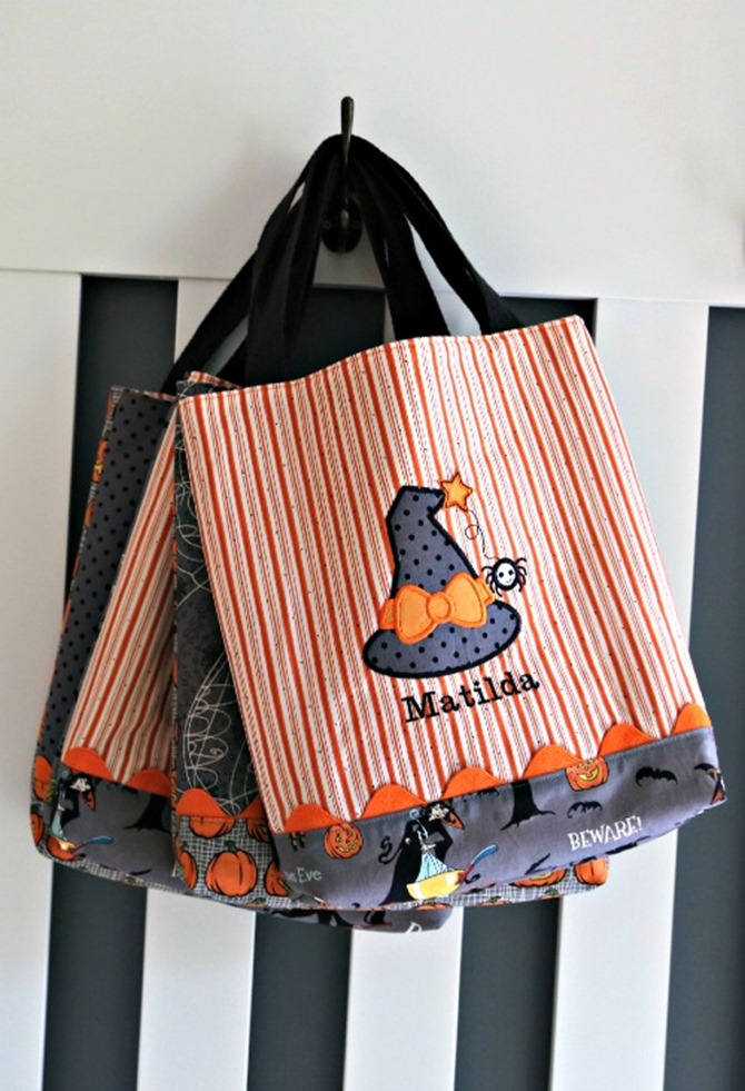 101 Fall Sewing Tutorials - EverythingEtsy.com - Halloween Tote Bag Pattern