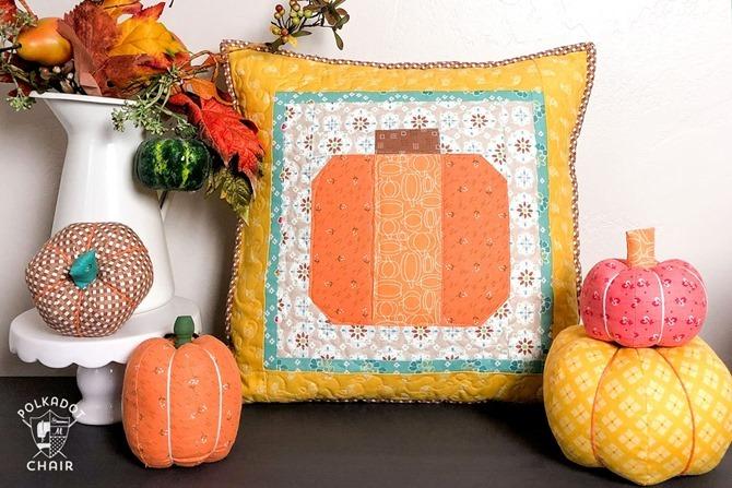 101 Fall Sewing Tutorials - EverythingEtsy.com - Patchwork Pumpkin Pillow DIY