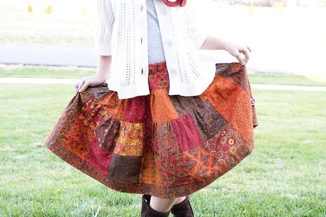 101 Fall Sewing Tutorials - EverythingEtsy.com - Patchwork Skirt Tutorial
