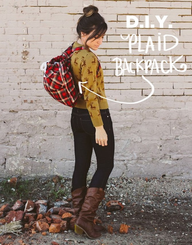101 Fall Sewing Tutorials - EverythingEtsy.com - Plaid Backpack