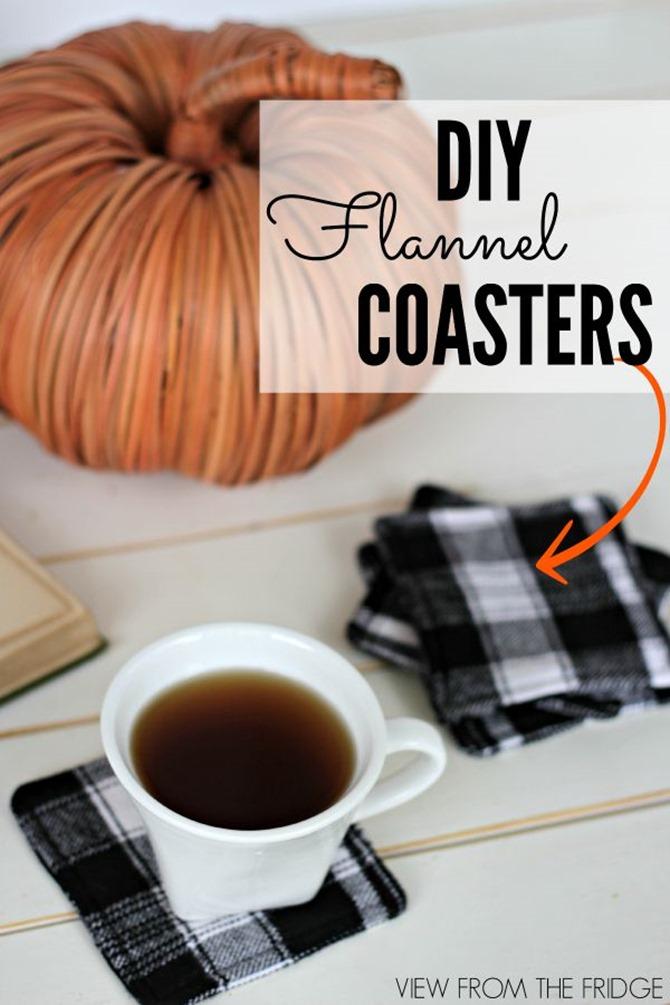 101 Fall Sewing Tutorials - EverythingEtsy.com - Plaid Coasters DIY
