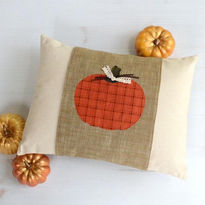 101 Fall Sewing Tutorials - EverythingEtsy.com - Pumpking Pillow Wrap