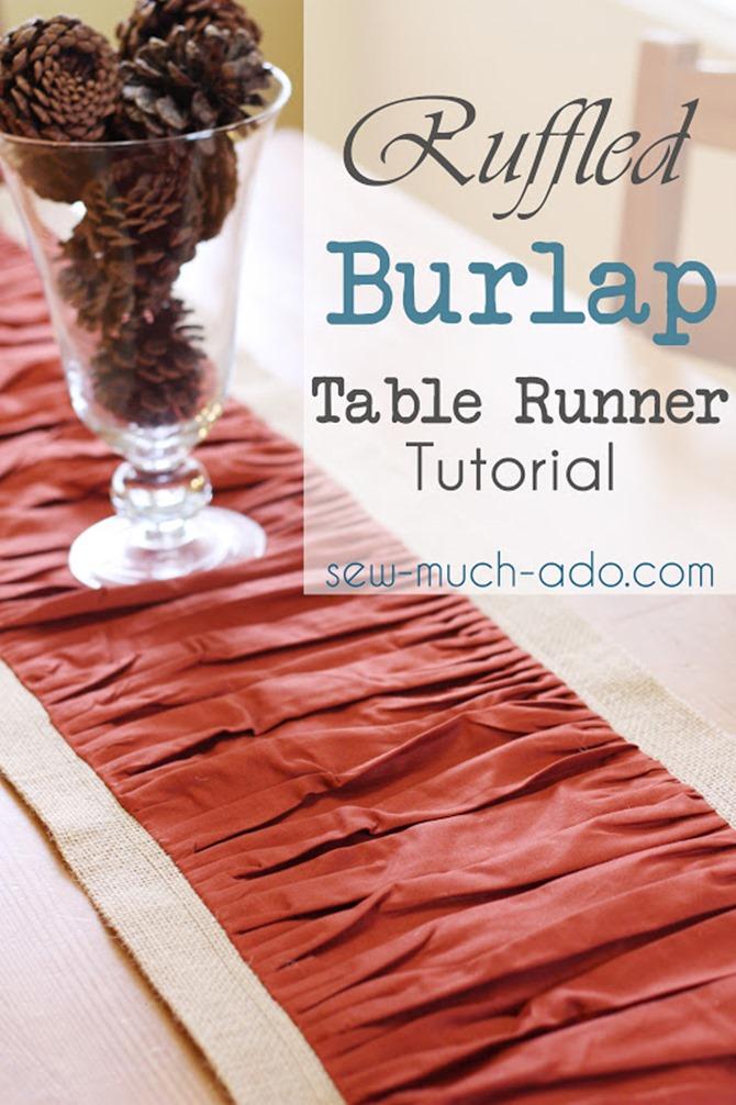 101 Fall Sewing Tutorials - EverythingEtsy.com - Ruffle Burlap Table Runner DIY