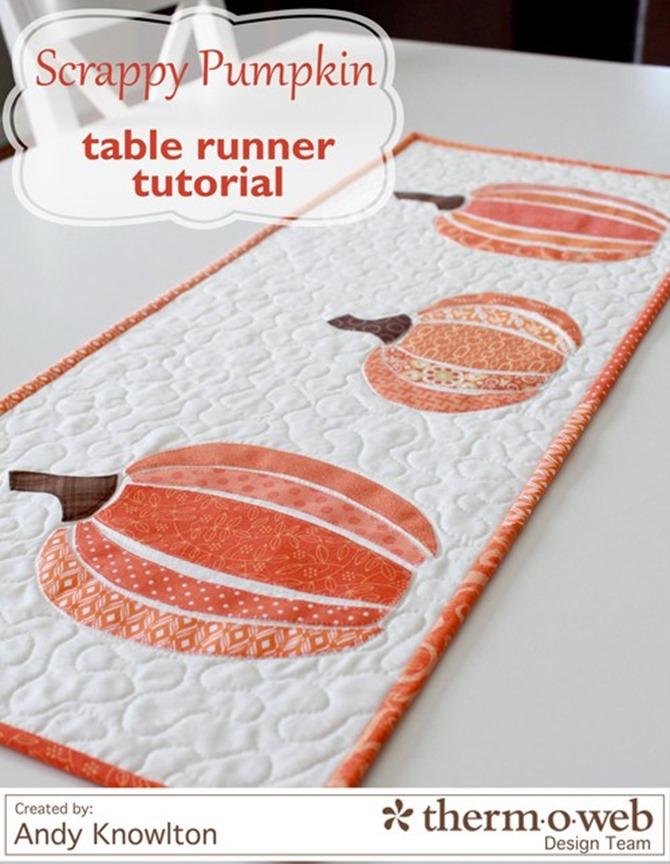 101 Fall Sewing Tutorials - EverythingEtsy.com - Scrappy Pumpkin Table Runner DIY