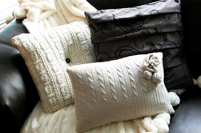 101 Fall Sewing Tutorials - EverythingEtsy.com - Sweater Pillows