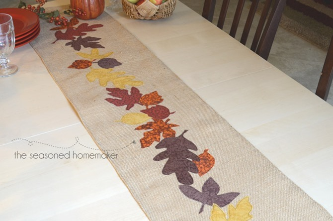 101 Fall Sewing Tutorials - EverythingEtsy.com - Thanksgiving Table Runner DIY