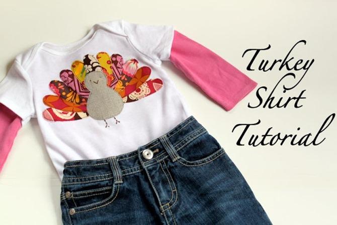 101 Fall Sewing Tutorials - EverythingEtsy.com - Thanksgiving Turkey Shirt