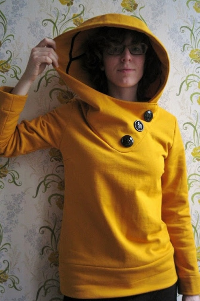 101 Fall Sewing Tutorials - EverythingEtsy.com - Yellow Hoodie Pattern