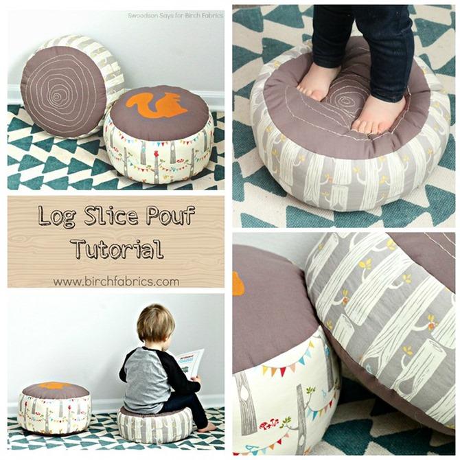 101 Fall Sewing Tutorials - Log Slice Pouf Tutorial