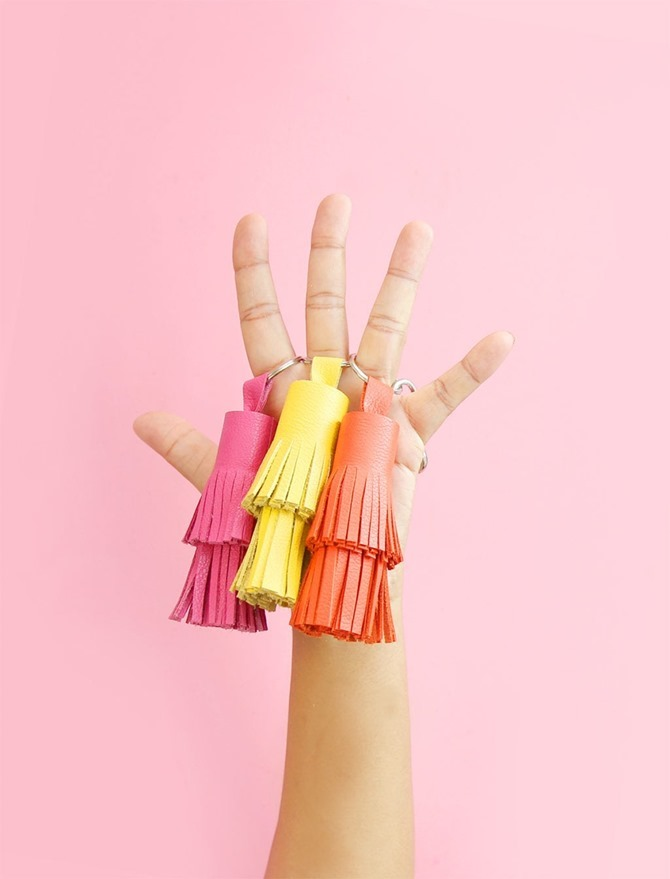 DIY Gift Idea - Leather Tassel Keychains = Damask Love