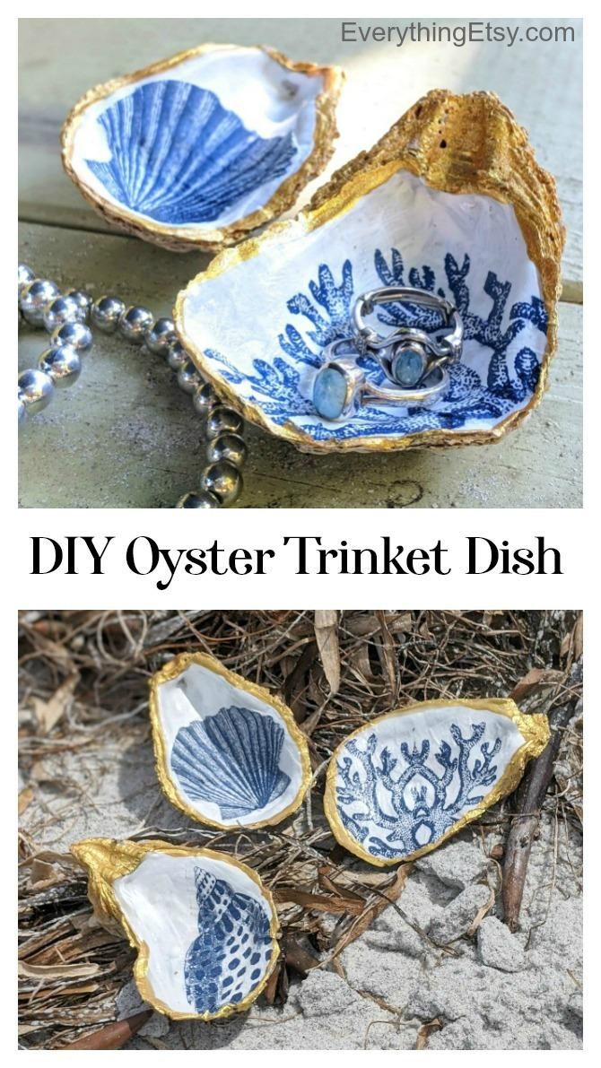 DIY Oyster Trinket DIsh - EverythingEtsy.com - Decoupage Tutorial