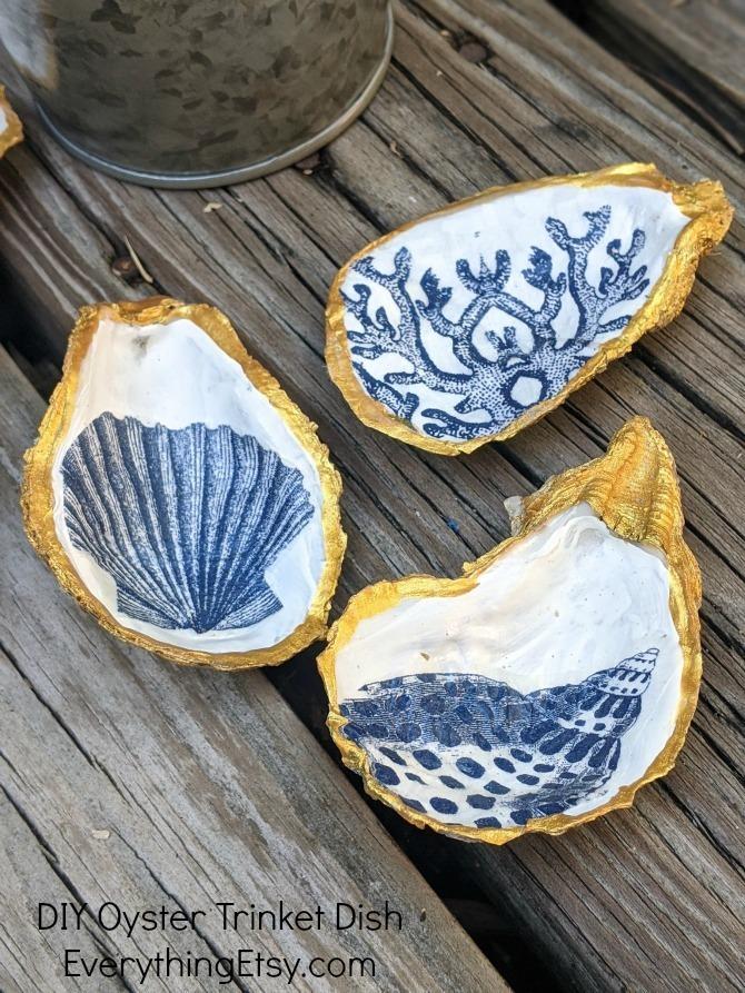 EverythingEtsy.com - DIY Oyster Trinket Dish Decoupage Tutorial