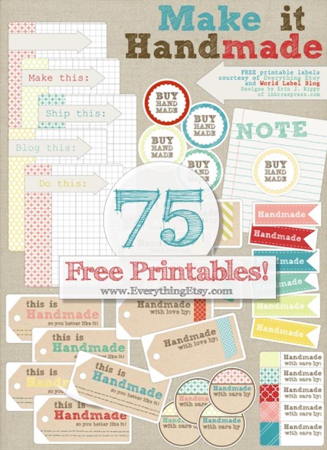 Free Printable Handmade Gift Tags - EverythingEtsy.com - 75 free printable handmade tags or stickers