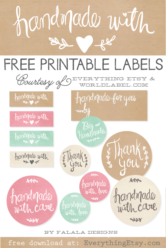 Free Printable Handmade Gift Tags - EverythingEtsy.com - Handmae with Care