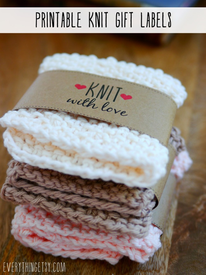 Free Printable Handmade Gift Tags - EverythingEtsy.com - Knit gift label