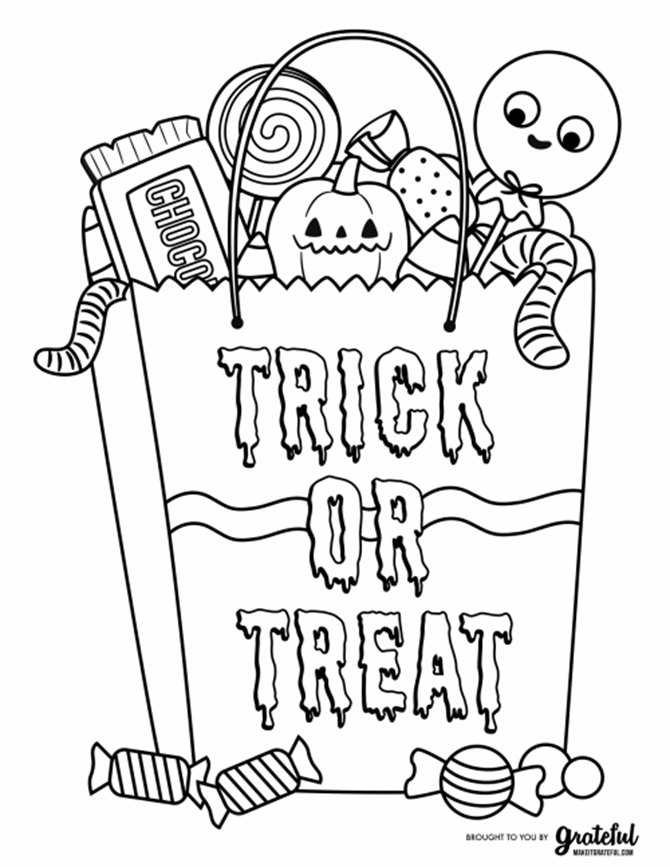 7 Free Halloween Coloring Page Printables for Adults and Kids - Candy Bag - EverythingEtsy