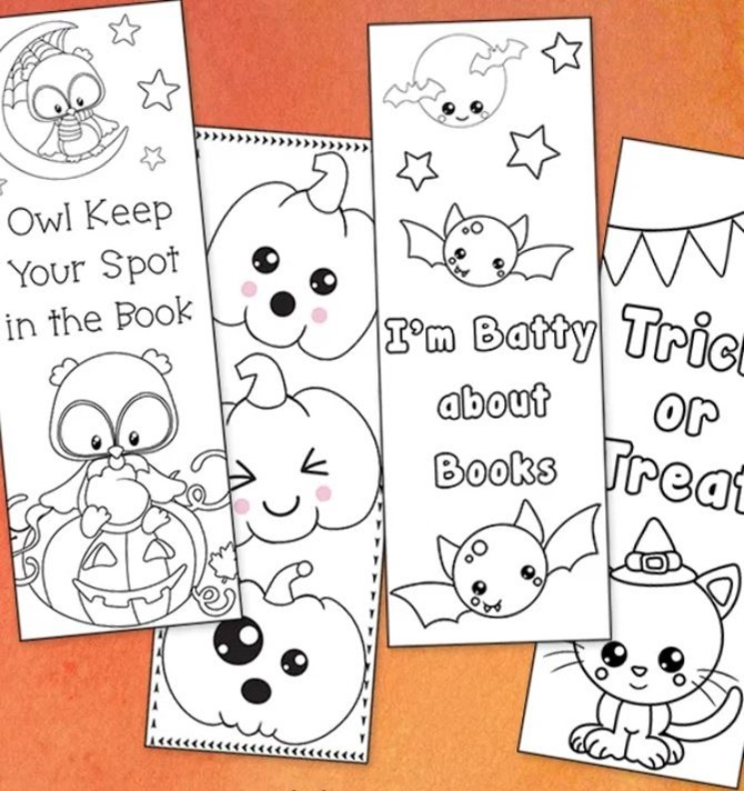 7 Free Halloween Coloring Page Printables for Adults and Kids - EverythingEtsy.com - Bookmarks