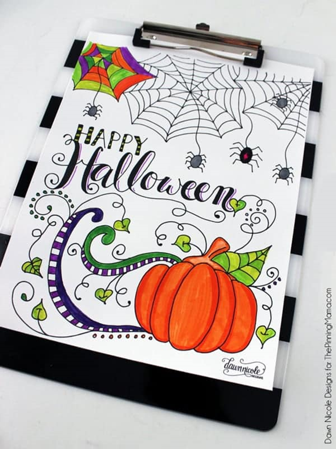 7 Free Halloween Coloring Page Printables for Adults and Kids - Happy Halloween - EverythingEtsy