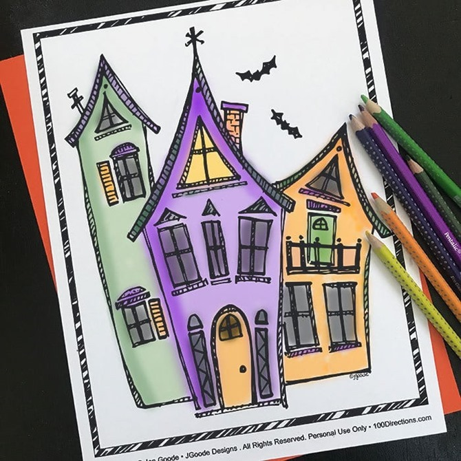 7 Free Halloween Coloring Pages for Adults and Kids - EverythingEtsy.com - Halloween Houses from 100 directions
