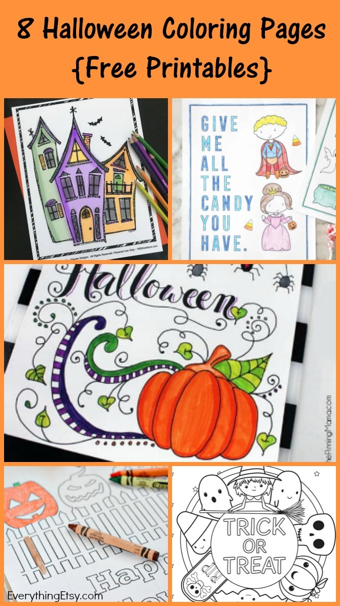 8 Halloween Coloring Pages for Adults and Kids {Free Printables} - EverythingEtsy.com