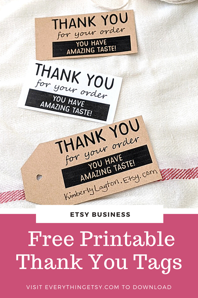 Etsy Business - Free Printable Thank You Tags for Your Etsy Shop - EverythingEtsy.com