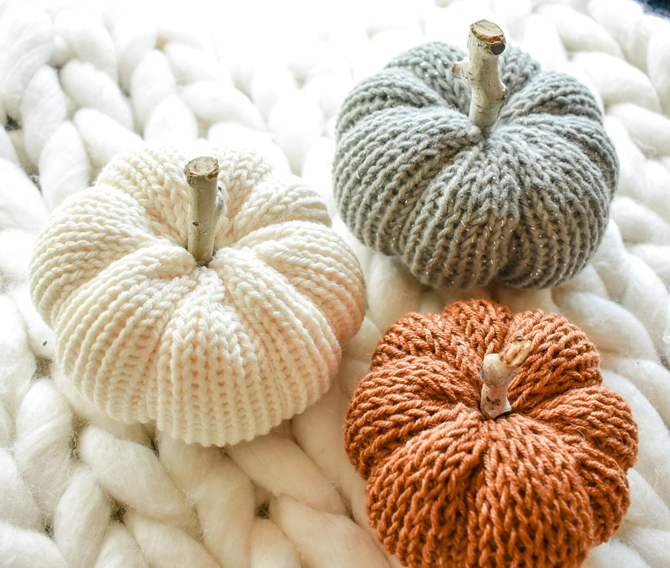 Favorite Fall Home Decor on Etsy - Knit Pumpkins - EverythingEtsy