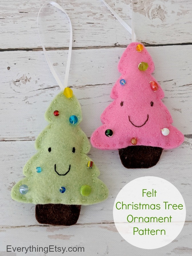 Felt Christmas Tree Ornament Tutorial on EverythingEtsy.com