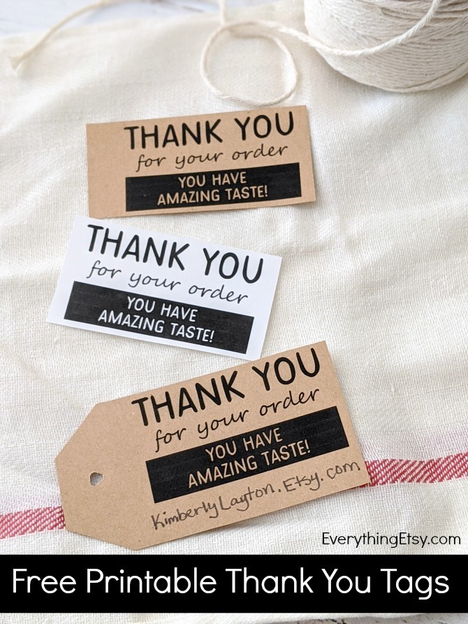 Free Printable Thank You For Your Order Etsy Shop Tags from EverythingEtsy.com