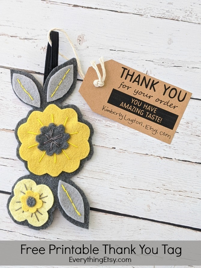Free Printable Thank You Tag for Etsy Sellers or Handmade Shops - EverythingEtsy.com
