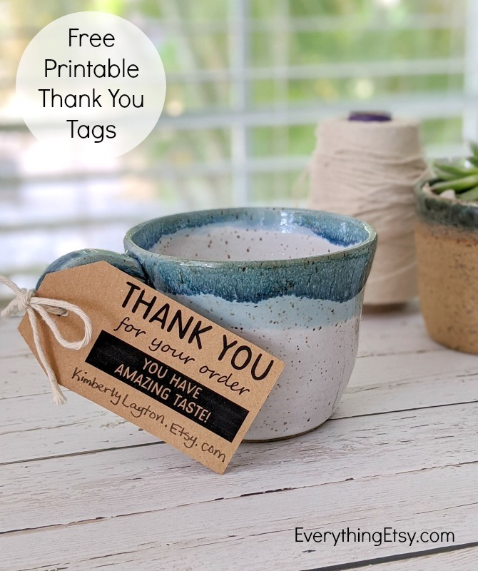 Free Printable Thank You Tags for Your Etsy Shop or Handmade Business - EverythingEtsy.com