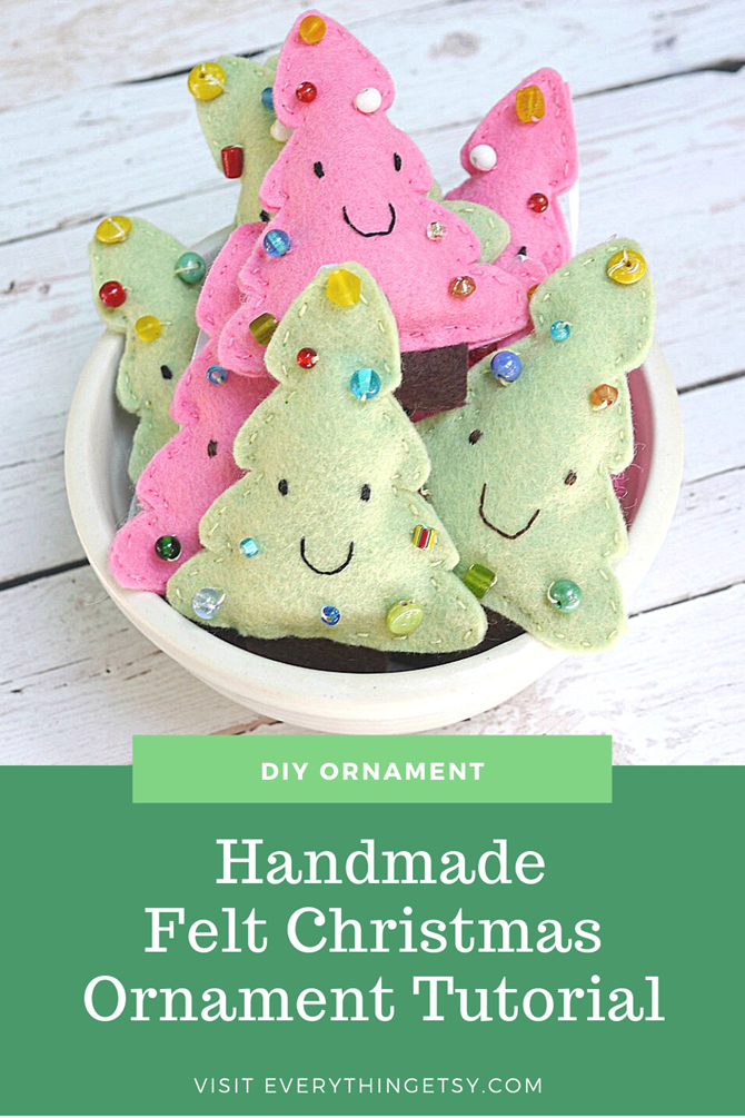 Handmade Felt Christmas Tree Ornament Tutorial - Free Pattern on EverythingEtsy.com