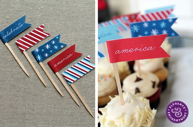 4th of July Party Printables - 12 Free Downloads - EverythingEtsy.com - Cupcake Flags