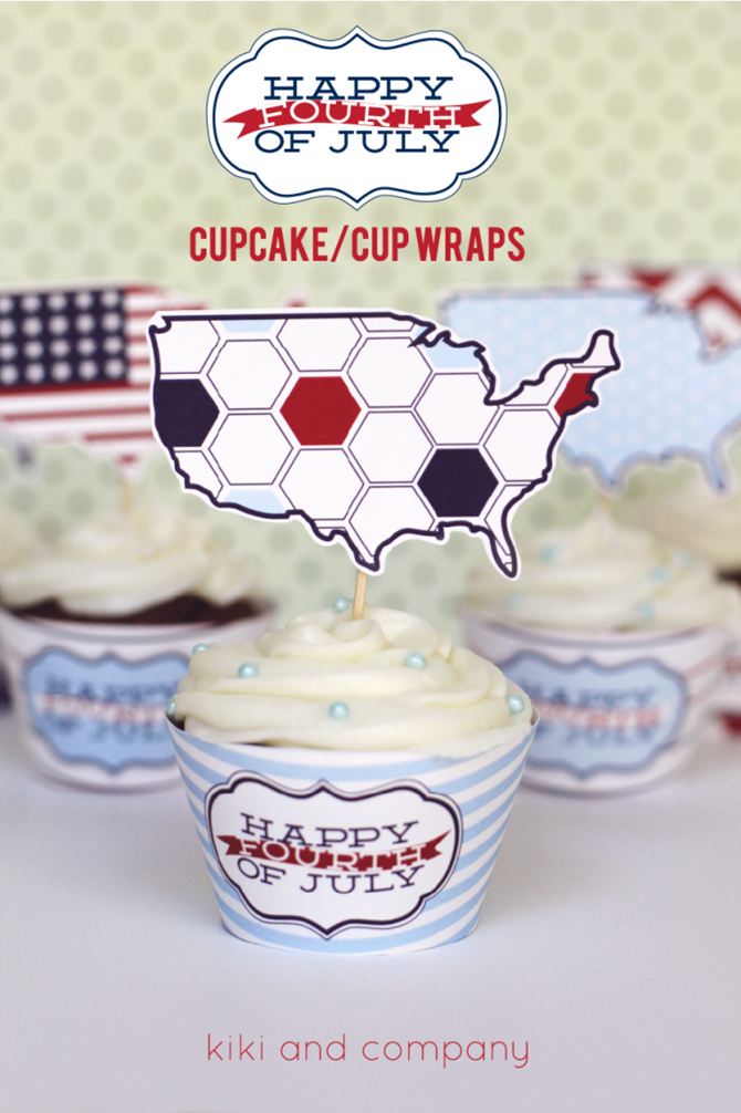 4th of July Party Printables - 12 Free Downloads - EverythingEtsy.com - Cupcake Wrappers