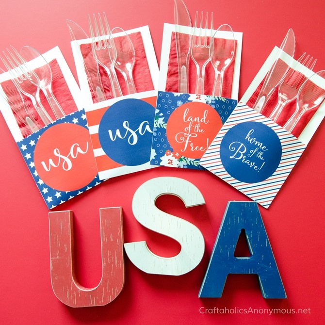 4th of July Party Printables - 12 Free Downloads - EverythingEtsy.com - Uensil Holders