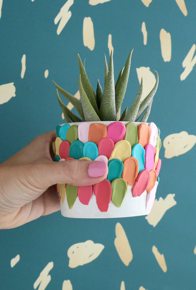 15 DIY Gifts for Plant Lovers - Colorful Clay Planters - EverythingEtsy