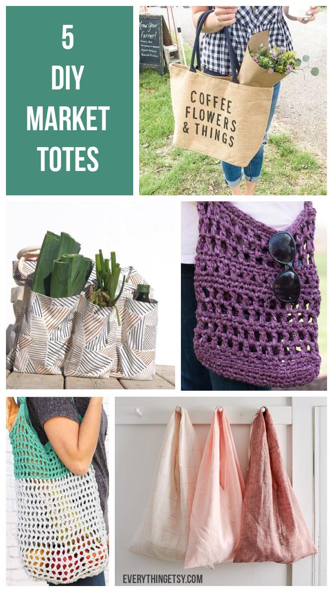 5 DIY Market Totes - Farmer's Market Weekend - EverythingEtsy.com