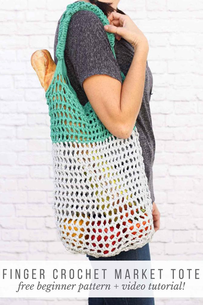 5 DIY Market Totes - Farmer's Market Weekend - Finger Crochet Pattern - EverythingEtsy